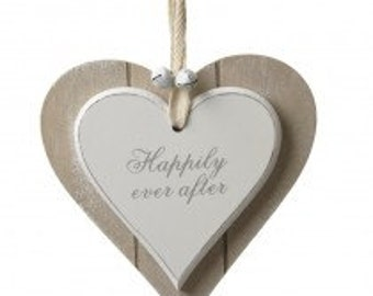Hanging wooden heart, happily ever after, wedding, gift, keepsake, love