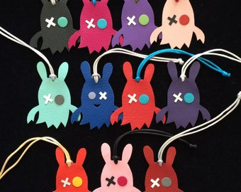 Leather Bunny Monster Bagcharm on Silk Cord