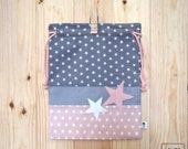 snack bag Star - grey and pink / lunch bag