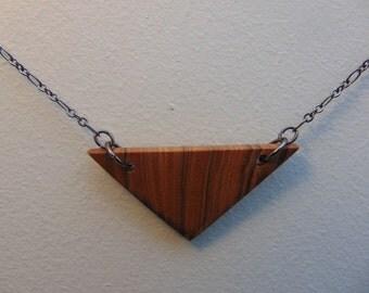 Triangle Olivewood Pendant Necklace #1