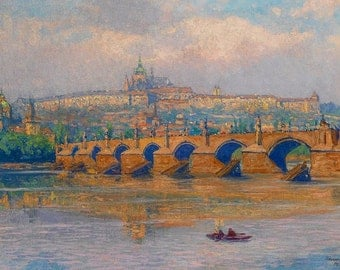 prague painting with prague castle in the background, heinrich tomec print, czech republic giclee print