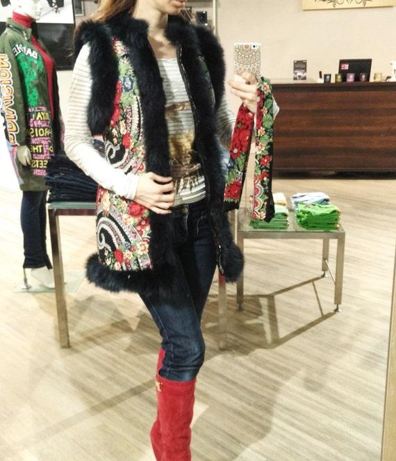 Winter waist vest made of babushka shawl and arctic fox fur
