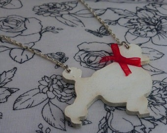 Wooden Poodle Shaped Silver Necklace