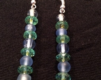 Green and blue dangle earrings