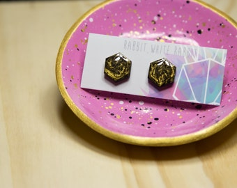 Black and Gold Hand Painted Hex Marble Stud Earrings
