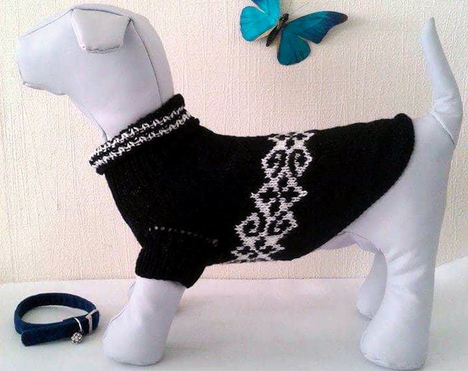 Knit Handmade Pattern Sweater For Dog. Pet Dress. Knit Dog Clothing. Sweater for Dog. Dog Clothes. Size M