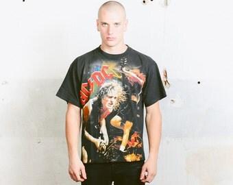 Vintage ACDC T-Shirt . Retro 80s Men's Tee Shirt Black Rock Band Tshirt 1980s Unisex Biker Oversized Shirt Hipster . Large XL Xxl