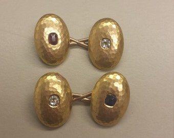 Victorian, Antique 14K Yellow Gold Cuff Links, Hammered Finish, With Ruby, Sapphire, and Diamonds