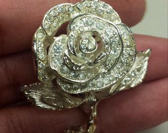Costume Jewelry Rose Brooch