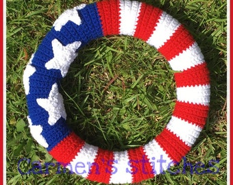 USA flag Wreath - American flag Wreath - stripes - stars - patriotic - crochet - United States - proud - 4th of July - Memorial Day