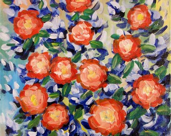 Morning Garden, Original Painting, Acrylic on Canvas, Signed by Artist.
