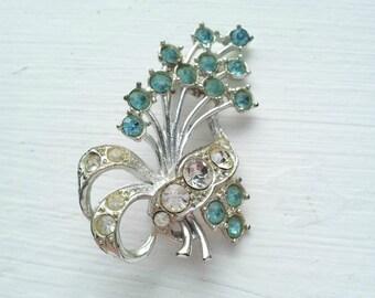 1950's Glass Brooch, Blue Glass Brooch, Vintage Rhinestone Brooch, Retro Fashion Accessory, Wedding Brooch, Gift for Her, Bridal Brooch