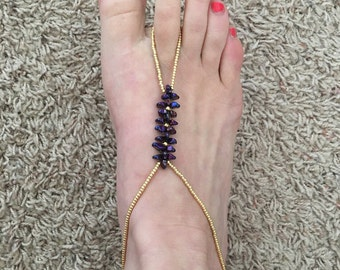 Gold and Purple Barefoot Sandals Anklet Foot Jewelry