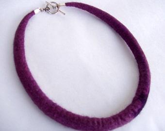 Size S-M, Felted necklace, necklace, choker, felt necklace,  merino silk necklace, purple necklace, felt choker,wool jewelry,44.5cm, 7.8inch
