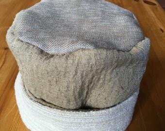 Beige pillbox hat