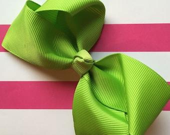 Green Apple / Lime Green Grosgrain Girls Ribbon Clip-In Bow