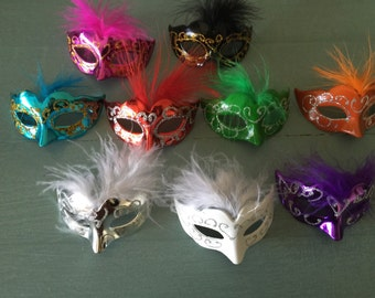 12 Mini Mardi Gras Feathered GLITTER MASK party decorations wedding quince favor