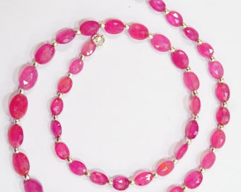 124 carat 20 inches 7-11 mm natural gem stone faceted pink sapphire nugget beads complete necklace top quality