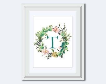 Monogram T - cactus printable - cactus wreath print - Monogram printable - Wedding printable - printable women gift - Monogram Wall Art