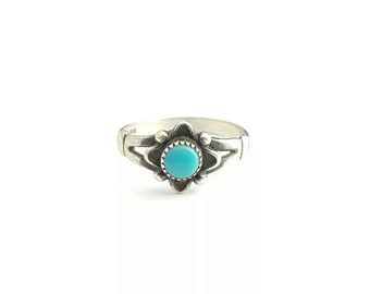Vintage Native American Sterling Silver Turquoise Flower Ring- Size 5