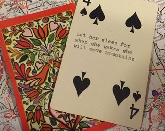 Hand Typed  Quotes On Playing Cards