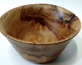 Highly Figured Hand Turned Oak Bowl with a Knot