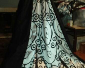 Black and white silk italian renaissance gown