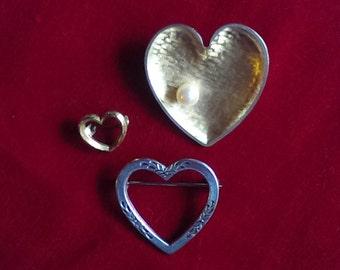 Trio of Vintage Heart Pins