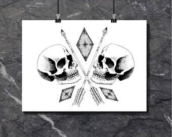 Double Skull - Art Print of original artwork