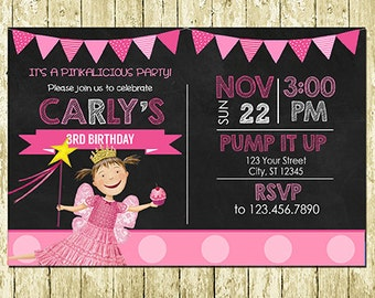 Pinkalicious Printed Chalkboard Birthday Invitations