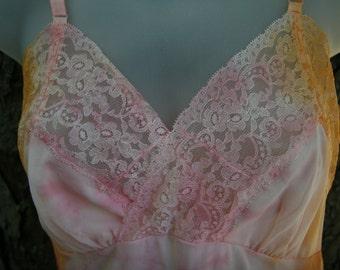 1950's Cheap Frills Custom Vintage Slip Dress Kayser S/M 32 Tangerine and Pink