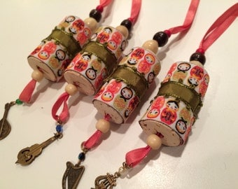 Pair of Ribbon Ornaments / Wine bottle charms