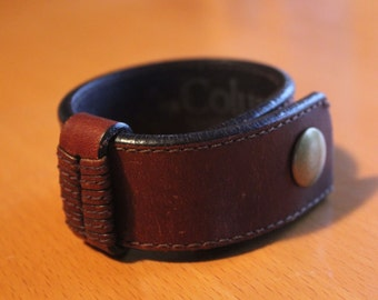 upcylced/recycled vintage brown leather cuff with slider