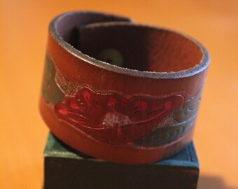 upcylced/recycled embossed and painted leather cuff