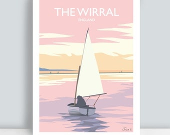 Wirral, England. Art Print/Poster. Boat on the Marine Lake. PLUS FREE POSTAGE!