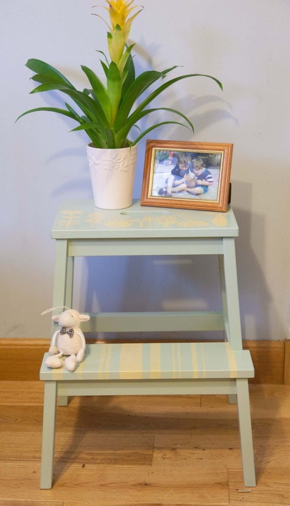 Painted Wooden Step Stool Plant Stand Occasional Or Bedside