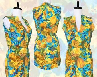 "Vintage 1960s Watercolor Floral Cotton Micro Mini Dress — 27""w"