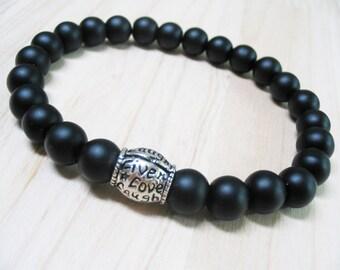 Mens Bracelet Black Onyx Bracelet Energy Bracelet Protection Bracelet Power Bracelet Root Chakra Bracelet Spiritual Bracelet Live Love Laugh