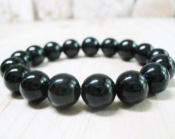 Black Tourmaline Bracelet-Tourmaline Bracelet-Energy Bracelet-Protection Bracelet-Power Bracelet-Black Bracelet-Mala Bracelet-10mm