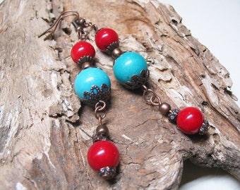 Boho Earrings-Turquoise Earrings-Red Coral Earrings-Bohemian Earrings-Boho Chic Earrings-Beaded Earrings-Ethnic Earrings-Gemstone Earrings