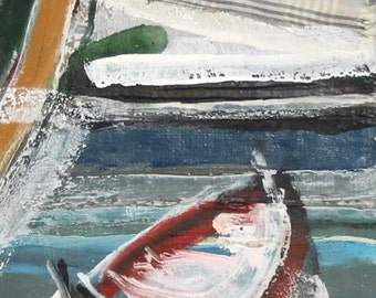 Vintage oil collage painting expressionist seascape boat