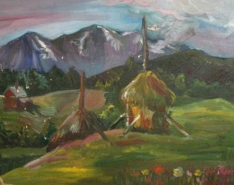 Vintage oil painting landscape fauvism