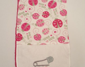Ladybug Burp Cloth, Ladybug Burp Pad, Burp Cloth, Burp Pad, Baby Girl Burp Cloth, Baby Girl Burp Pad, New Baby Gift, Baby Girl Shower