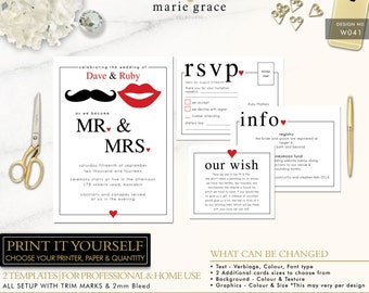 Fun Wedding Invitation Template, Quirky Fun Wedding Invitation Printable