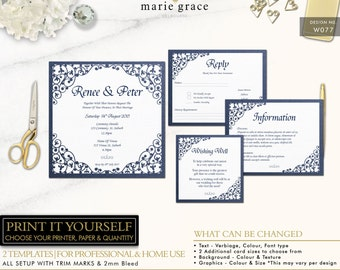 Navy Wedding Invitation Set, Lace Wedding Invitation