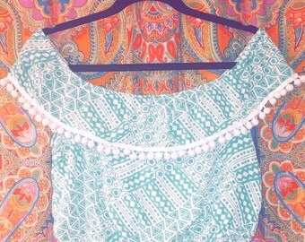 Off the Shoulder Turquoise Crop Top