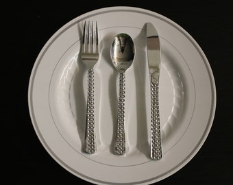 Silver Rhinestone Bling Forks Spoons Knives Cutlery