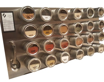 24 Tin Magnetic Spice Rack (Jars, Labels, Spoons, Stainless Steel Plate & Chart)