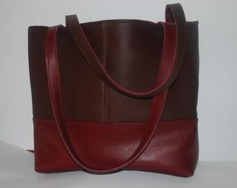 Two-tone leather handbag