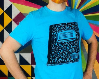 Composition notebook woodblock  Printed Tee